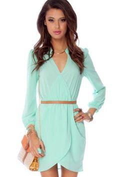 Long sleeve Dress in Mint :: tobi