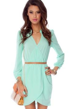 Long sleeve Dress in Mint :: tobi