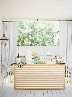Your wedding bar design might not be at the top of your to-do list, but chances are your guests will be spending some time there! Mobile Bar, Mobile Table, Outdoor Bridal Showers, Bar Set Up, Wedding Event Planner, Wedding Planning, Couple Shower, Bridal Shower Decorations, Wedding Decorations