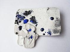 brooch - silver & blue enamel by Kelvin J Birk