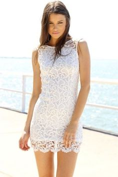 2014 New fashion lace dress Super cute ivory tank shaped fitted dress featuring a crochet-look overlayer and low cut back LQ9294 US $24.98