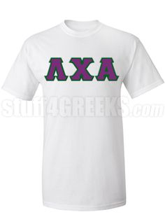 White Lambda Chi Alpha t-shirt with the Greek letters across the chest.