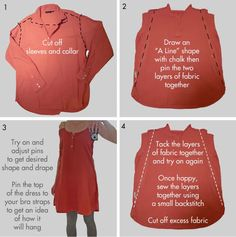 what to do w shirts the hubby won't wear! UPDATED inspiration... Combine this tute w the men's button down halter apron, to make halter dresses... Eat your heart out RL, I'm finally gonna DIY!