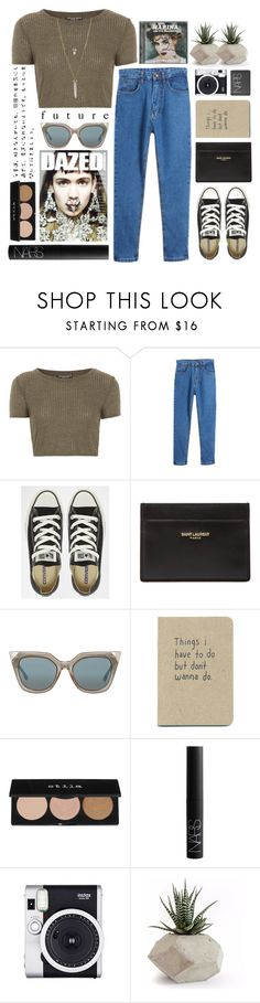 """""""Untitled #1902"""" by tacoxcat ❤ liked on Polyvore featuring Topshop, Converse, Yves Saint Laurent, Fendi, Stila, NARS Cosmetics and BCBGeneration"""