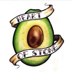 Avocado heart of stone tattoo Love Tattoos, Beautiful Tattoos, Body Art Tattoos, I Tattoo, Stone Tattoo, Tatoos, Avocado Tattoo, Vegan Tattoo, Tattoo Flash Art