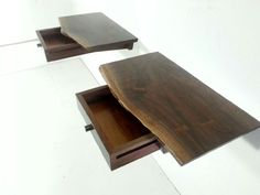 Matching Live Edge Floating Nightstands Mid от GRWoodworker