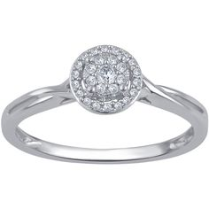 Diamond Promise Rings in 10K Gold1/10 Cttw/Round Cluster - Size 6 (£97) ❤ liked on Polyvore featuring jewelry, rings, jewelry & watches, cluster jewelry, round ring, diamond cluster ring, cluster rings and round diamond ring