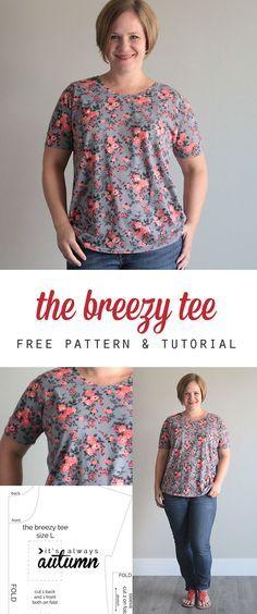 kostenlos T-Shirt Schnittmuster - das sieht so einfach, ich wette, ich könnte es zu machen!  nett, auch.