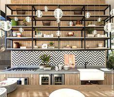 Best Indoor Garden Ideas for 2020 - Modern Industrial Kitchen Design, Interior Design Kitchen, Kitchen Tiles, Kitchen Decor, Welcome To My House, Interiores Design, Cool Kitchens, Kitchen Remodel, Chevron