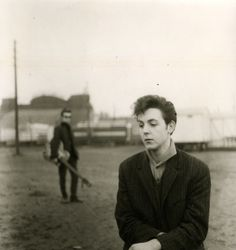 ♡♥Paul McCartney at Hamburg fair grounds in Hamburg,Germany with former Beatle Stu Sutcliffe in the back ground - Photo taken by Stu Sutcliff in 1960♥♡