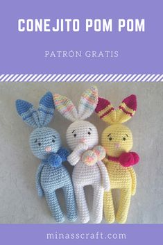 Easter Bunny Crochet Pattern, Knitted Bunnies, Crochet Amigurumi Free Patterns, Crochet Dolls, Crochet Baby, Free Crochet, Knitting Patterns, Crochet Crafts, Crochet Projects