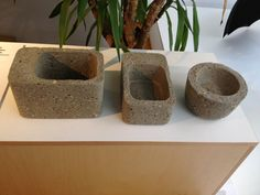 Contemporary planters moulded from concrete poured into Tupperware. What a fab idea!