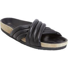 Isabel Marant Étoile Holden Slides (8,470 MXN) ❤ liked on Polyvore featuring shoes, sandals, black, flats, isabel marant, open toe shoes, slip on flats, black flats, black slip on flats and slip on sandals