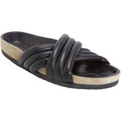 Isabel Marant Étoile Holden Slides ($299) ❤ liked on Polyvore featuring shoes, sandals, black, flats, isabel marant, black flats, black shoes, open toe flats, black open toe sandals and black sandals