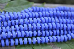 Sam's Bead Shop: Cultured Sea Glass Heishi, Opaque Blue - 9mm - 36-pc Strand #beads #seaglass #beach #beachy #beachthemed #bythesea #nautical #beading #jewelrymaking #diyjewelry #diyjewelrymaking #jewelrydesign #handmade #diy #accessories #samsbeadshop