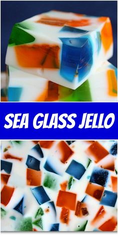 Sea Glass Jello recipe from RecipeGirl.com #sea #glass #seaglass #jello #recipe #RecipeGirl Easy Delicious Recipes, Best Dessert Recipes, Candy Recipes, No Bake Desserts, Cheesecake Recipes, Cookie Recipes, Yummy Food, Salad Recipes, Jello Flavors