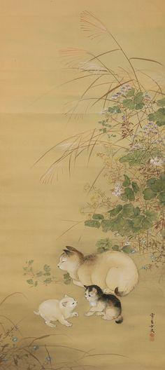 Miyakodori Sekko Cats & Autumn Plants 2 Watercolor Cat, Watercolor Ideas, Art Chinois, Oriental Cat, Japanese Cat, Illustration Art, Illustrations, Japanese Painting, Japan Art