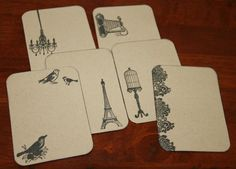 Handmade Journalling Cards  3 x 4 inch  french by scrapandcreate, $3.00