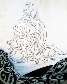21 Ideas For Design Pattern Drawing Art Baroque Ornament, Hai Tattoos, Filigree Tattoo, Baroque Tattoo, Ornament Drawing, Engraving Art, Carving Designs, Leather Pattern, Scroll Design