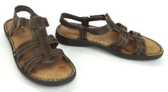 Minnetonka 8 BNR Brown Leather Strappy T-Strap Velcro Ankle Strap Sandals 70107 #MinnetonkaMoccasin #TStrap #Casual