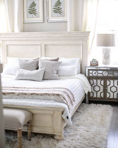 A small master bedroom with a white bed with white linens and a white shaggy rug on the ground. Very neutral fresh and clean bedroom. Simple Autumn Home The Intersection of Design & Motherhood Bed Furniture, Bedroom Furniture Beds, Bedroom Interior, Master Bedroom Design, Small Master Bedroom, Bedroom Vintage, White Bedroom Set, Ashley Furniture Bedroom, Small Master Bedroom Design Ideas