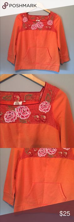Anthropologie sweatshirt Bright orange and so cute, early Anthropologie sweater by Lilka. Labeled a Small, excellent Condition no flaws. Anthropologie Tops Tees - Long Sleeve