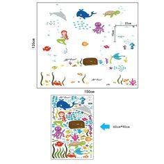 Pegatina Pared Vinilo Decorativo Adhesivo Infantil Decoración Baño Ventana Vidrio Mundo Submarino Tortuga Ballena Sirena Multicolor: Amazon.es: Hogar