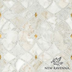 Avila, a natural stone waterjet and hand cut mosaic shown in Gold glass honed, Afyon White polished, and Cloud Nine honed, is part of the Miraflores Collection by Paul Schatz for New Ravenna Mosaics.