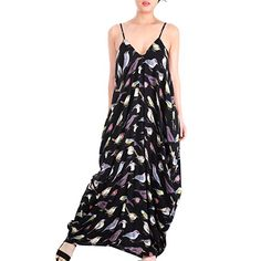 May&Maya Women's Low V-neck and Low V-back Maxi Dress (XXL, Bird Print)