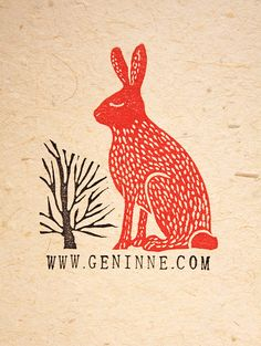 Brilliant, Red Hare by Gennine #printmaking