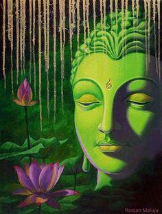 Buddha painting by nitin sonawale at Indian Art Buyers, art sales, art . Gautama Buddha, Buddha Buddhism, Buddhist Art, Buddha Meditation, Budha Painting, Mural Painting, Green Paintings, Indian Art Paintings, Paintings Online