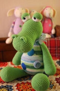 Tick Tock the Croc.  Crochet Amigurumi by FuzzpotLaneDesigns