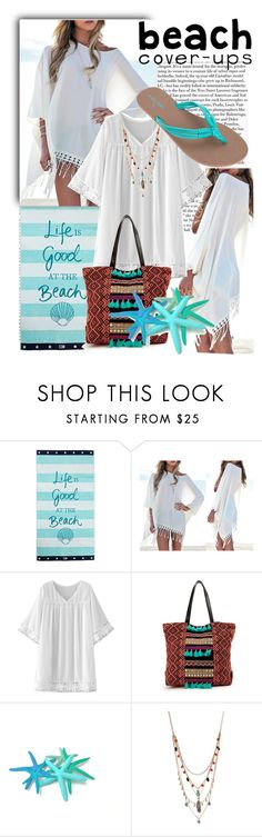 """""""Life is good at the beach"""" by shay-segev ❤ liked on Polyvore featuring Lexington, WithChic, Betsey Johnson, Volcom and coverups"""