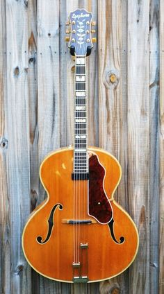 Vintage 1949 Epiphone Emperor with Carved Top and Removable Floating Pickup/Pickguard / Second NOS Pickguard Included. Jazz Guitar, Music Guitar, Playing Guitar, Daft Punk, Archtop Guitar, Acoustic Guitars, Gibson Guitars, Guitar Building, Beautiful Guitars