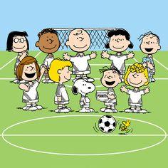 Peanuts characters play soccer