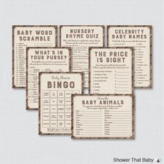 Rustic Baby Shower Games Package - Seven Printable Games: Bingo, Price is Right, Purse Game, Nursery Rhyme - Rustic Wood Burlap Baby 0034 by ShowerThatBaby on Etsy https://www.etsy.com/listing/240977925/rustic-baby-shower-games-package-seven