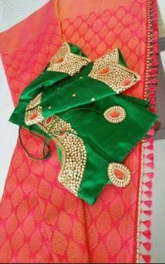 contrast blouse for pink saree Blouse Back Neck Designs, Saree Blouse Designs, Blouse Patterns, Engagement Saree, Maggam Work Designs, Elegant Saree, Pink Saree, Saree Styles, Beautiful Saree