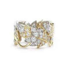 """Four Leaves"" botanical ring in 18 karat gold with round brilliant diamonds by Jean Schlumberger from Tiffany & Co."
