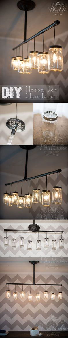 Mixes two of my favorite materials... black plumbing pipe and mason jars. Makes for a nice industrial/rustic feel. Pensacola Photography and Design | BluRubie Studios | DIY Mason Jar Chandelier