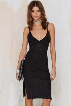Nasty Gal Knit Your Average Girl Plunging Dress