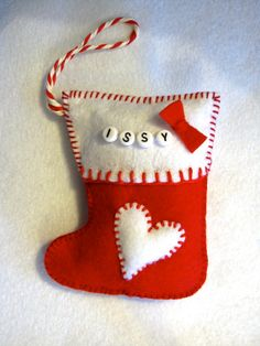 Christmas Felt Sock Ornaments decoration baby's first by JeanieGin, £3.59