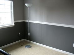 The Astounding Two Tone Walls With Chair Rail 78 For House Decorating Ideas With Two Tone Walls With Cha How To Build a design interior decorating covers ikea DIY and furniture house simple exterior Two Tone Walls, Two Tone Paint, Living Room Paint, Grey Walls, Color Walls, Paint Colors, Bedroom Wall, Master Bedroom, Boys Bedroom Paint