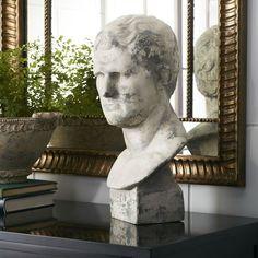 Roman Bust Statue - White