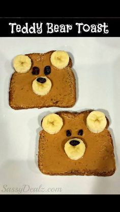 Teddy Bear Toast (Healthy Kid's Breakfast Idea) - Crafty Morning, Breakfast for kids. Teddy bear toast with Nutella or peanut butter, bananas, & raisins. Toddler Meals, Kids Meals, Lunch Meals, Toddler Recipes, Kid Lunches, School Lunches, Cute Food, Good Food, Healthy Breakfast For Kids