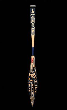 Great Blue Heron Paddle by Maynard Johnny Jr. Coast Salish artist