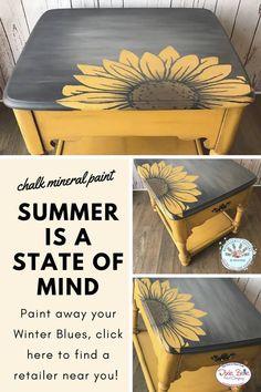Excellent paint to paint indoors, no VOC's, bring some sunshine into your winter with Dixie Belle Paint. #PaintedFurniture