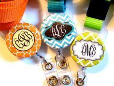Monogram Badge Reels Lanyards by veryunladylikebadges on Etsy Nurse Lanyard, Nurse Badge, Stethoscope Id Tag, Gift Suggestions, Monogram Necklace, Badge Reel, Nurse Gifts, Christmas 2014, Monogrammed Luggage