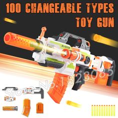 (49.99$)  Watch more here - http://aisyf.worlditems.win/all/product.php?id=32668070443 - 100 Changeable Combination Electric Gun Soft Bullet Plastic Toys Machine Guns Bursts Compitable with Nerf Gifts Boys Assemble
