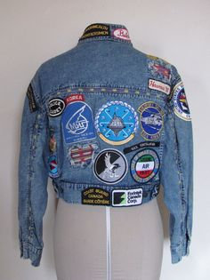 Eighties Denim Jacket covered in patches. $85 on Etsy.