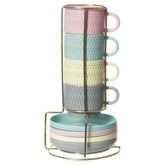 Add a touch of vintage charm to your afternoon catch-up with this stunning set of ceramic four espresso mugs, featuring matching saucers and a handy stand to...